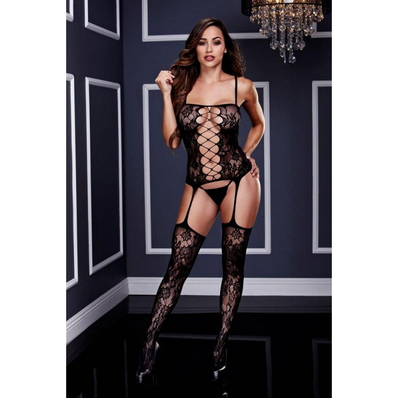 OS Corset Front Suspender Lace Bodystocking