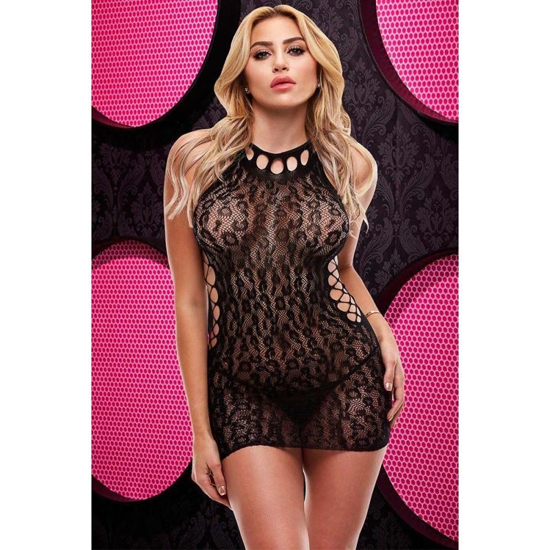 Mystic Black Cheetah Print Mini Dress