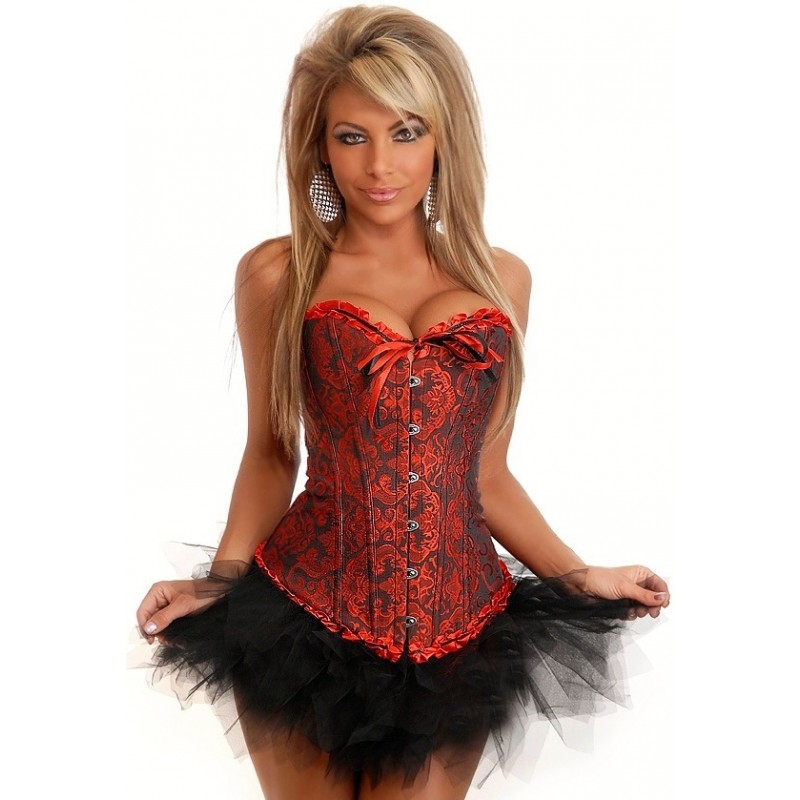 L Corset in Black Red Painties included  Skirt not included