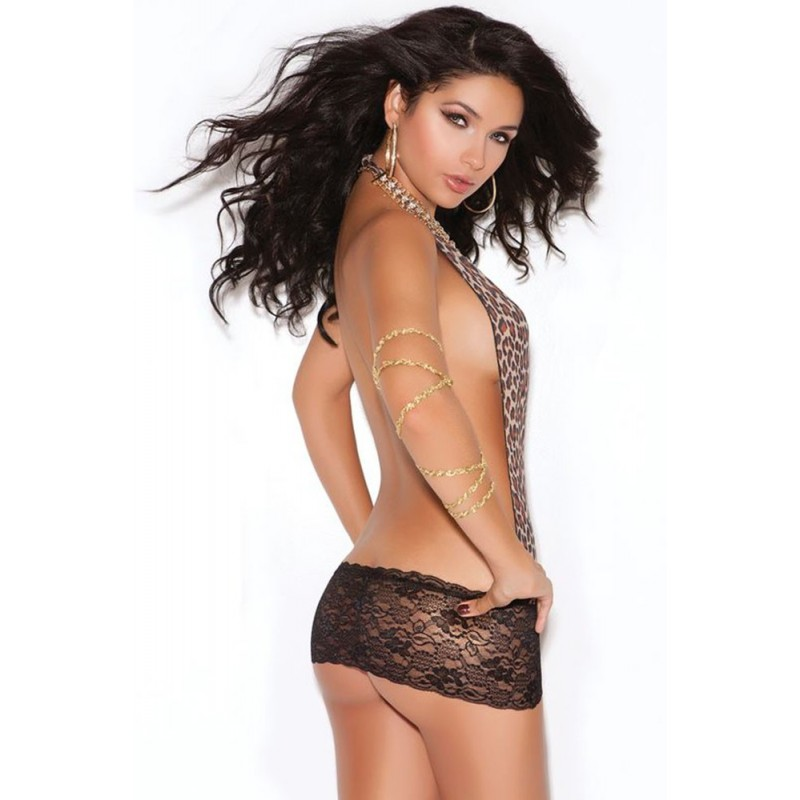 OS Leopard and Lace Backless Mini Dress