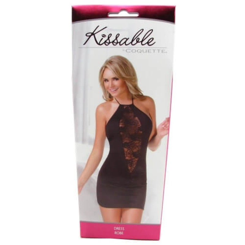 OS Kissable Black Halter Dress