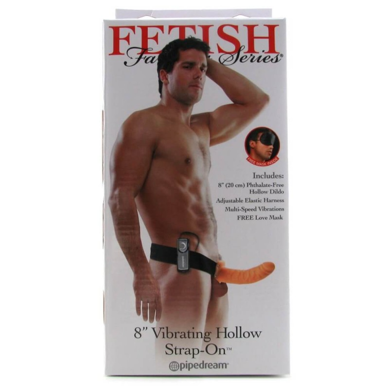 8 Inch Vibrating Hollow Strap-On in Flesh