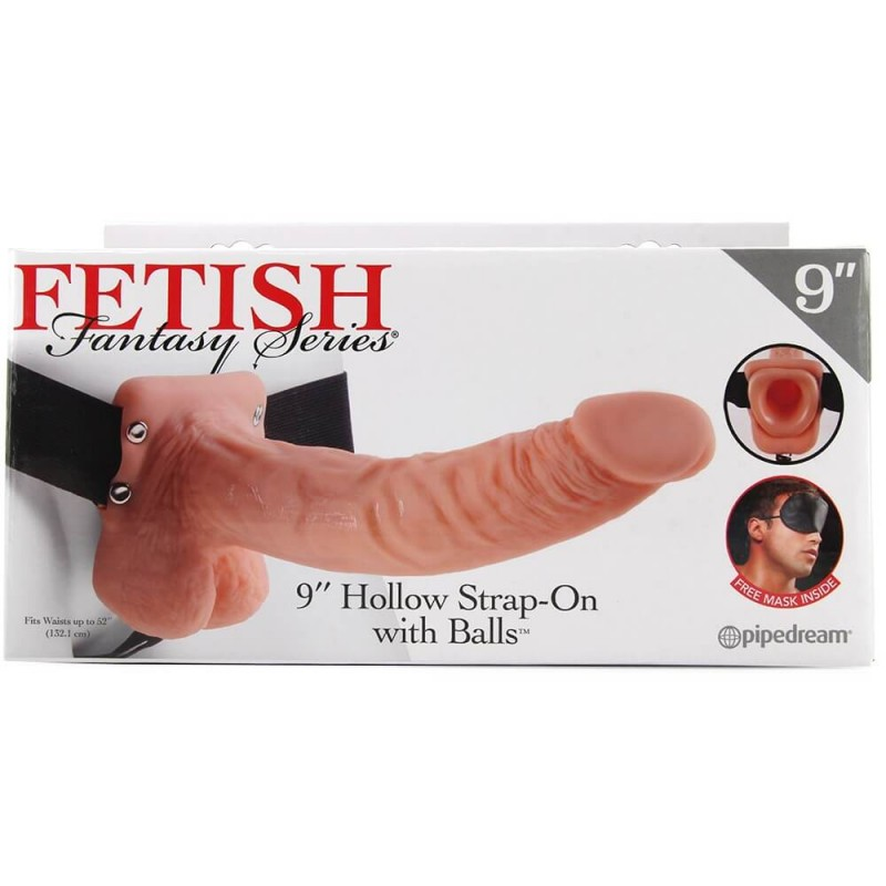 9 inch  Hollow Strap-On with Balls in Flesh