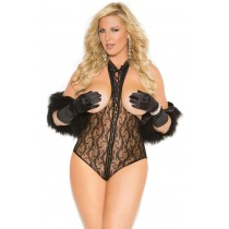 Black Lace Cupless, Open Back Teddy in OSXL