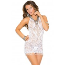 OS White Fringe Mini Dress