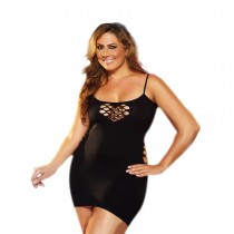 OSXL Black Cash Cage Mini Dress