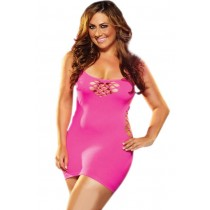 OSXL Pink Cash Cage Mini Dress