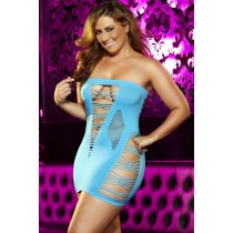 OSXL Backroom Neon Blue Mini Dress
