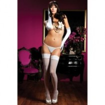 OS Sheer White Lace Topped Thigh Highs