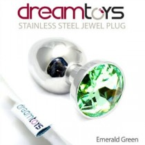 30mm Green -Jewel Butt Plug- Stainless Steel