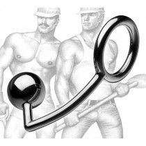 Tom of Finland Stainless Steel Cock Ring with Anal Ball- Blemished