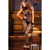 Black Rose Lace Bodystocking in OS