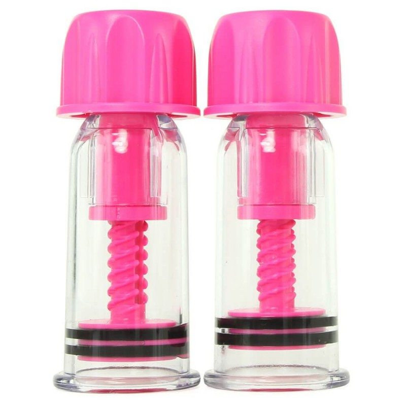 nipple play Vacuum Twist Suckers in Pink
