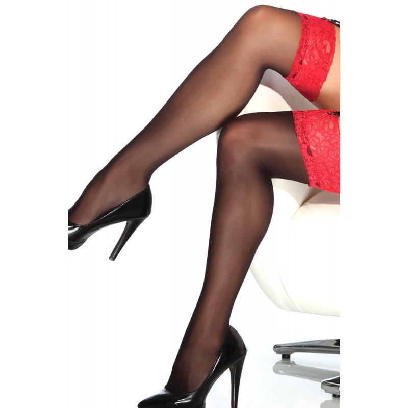 Sheer Lace-Topped Thigh Highs Black & Red in OS