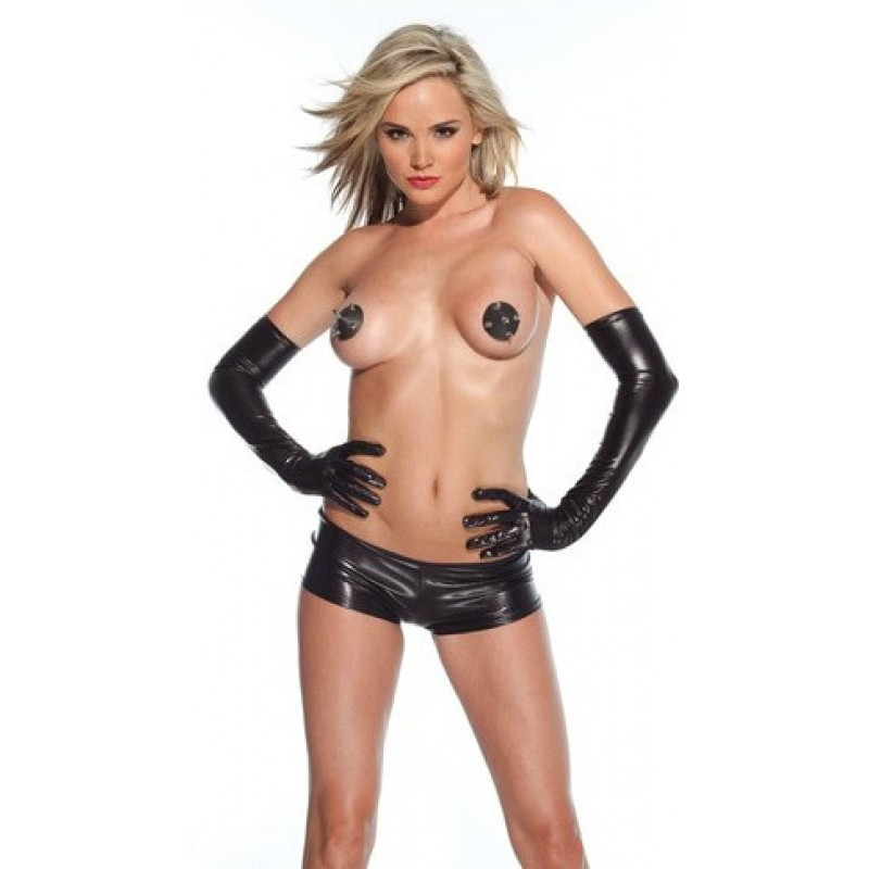 Wet Look Gloves -Coquette
