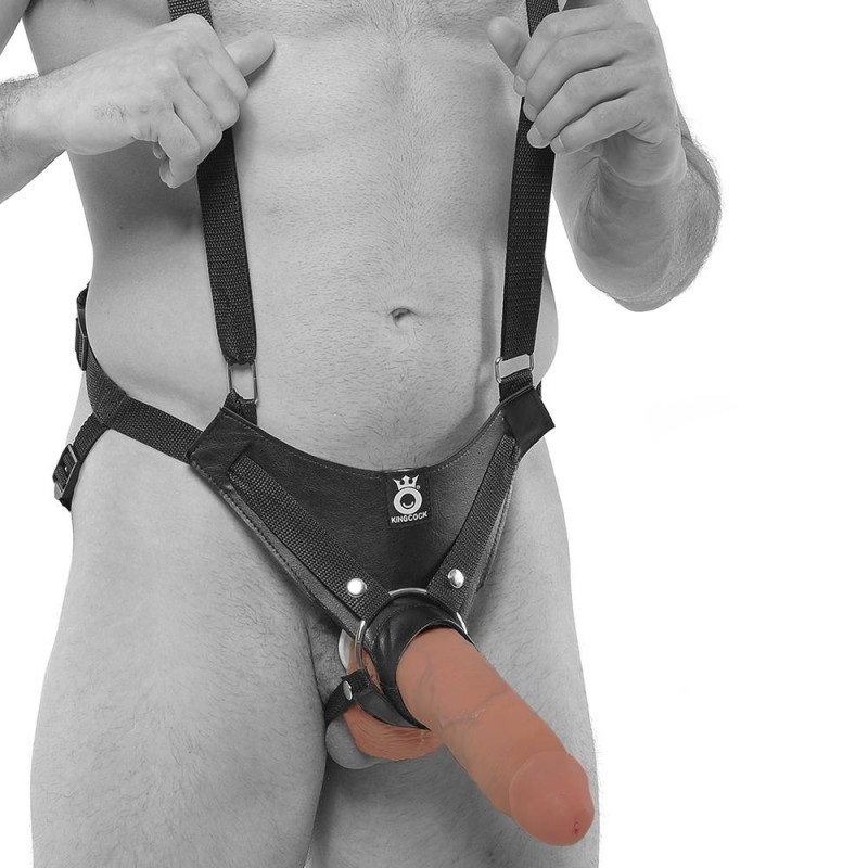 "10"" Hollow Strap-On Suspender System in Tan King Cock"