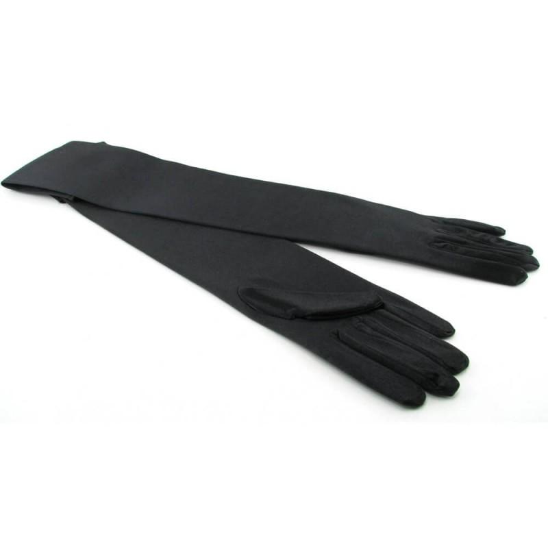 OS/OSXL Black Satin Opera Gloves