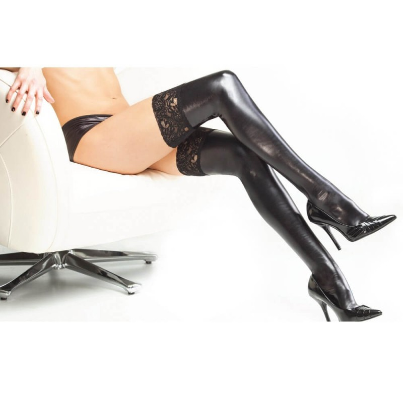 OS Wet Look Black Thigh Highs with Silicone Grip Tops