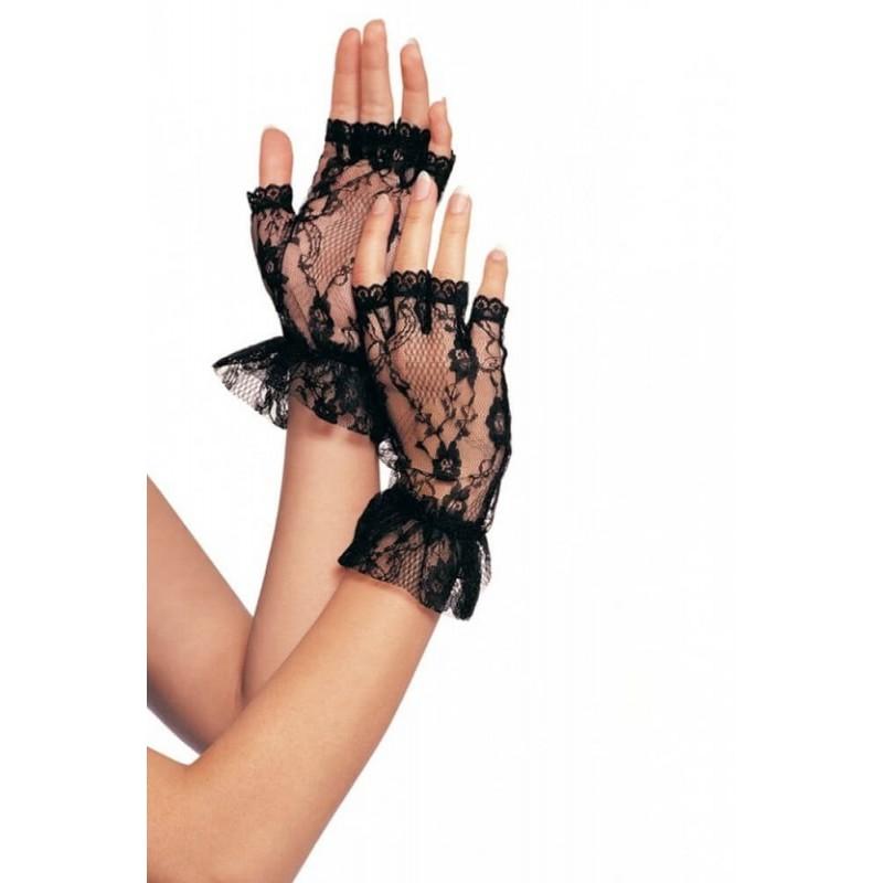 Fingerless Lace Gloves in Black