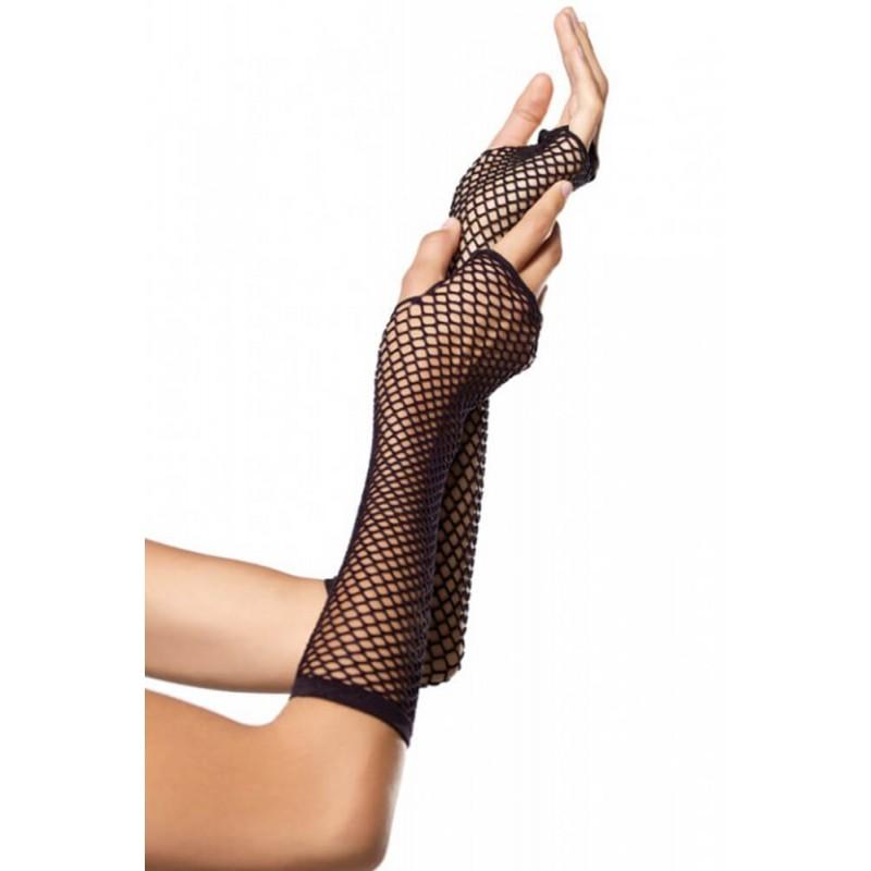 Triangle Net Fingerless Gloves in Black